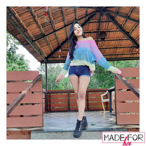 Client Moksha In Our Rainbow Colourful Pullover - Made For Her Label