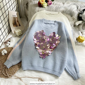 Embellished Pearl Heart Pullover - Made For Her Label