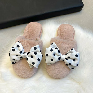 Polka Bow Faux Fur Slipper