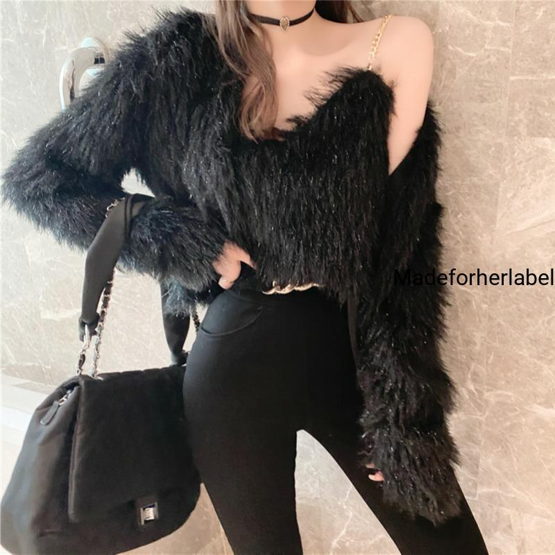 Renne Fur Vest With Cardigan