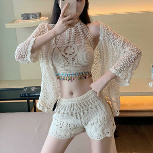 Austin Crochet Blouse With Shorts And Cape