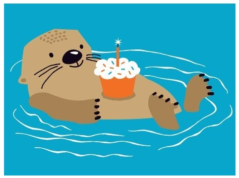 Otter With Cupcake Card
