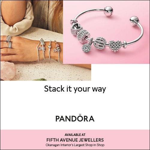 Pandora bracelet image with a background image of an set of five Pandora stacked bracelets