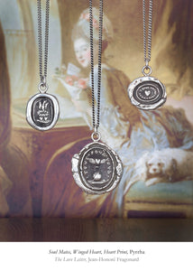 Three Pyrrha talismans - Soul Mates, Winged Heart and Heart Print, Kamloops BC