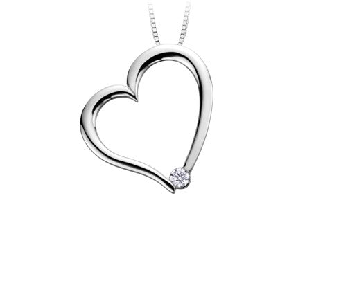 Tilted White Gold Heart Pendant Fifth Avenue Jewellers Kamloops BC