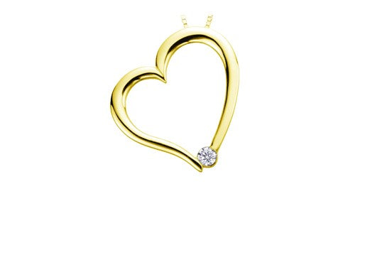 Tilted Yellow Gold Heart Pendant Fifth Avenue Jewellers Kamloops BC
