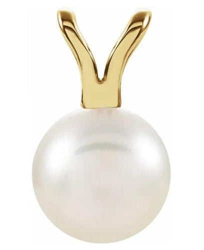 Akoya Cultured Pearl Pendant in Yellow Gold 6mm - Fifth Avenue Jewellers