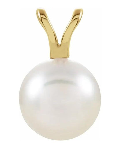 Akoya Cultured Pearl Pendant in Yellow Gold 7mm - Fifth Avenue Jewellers