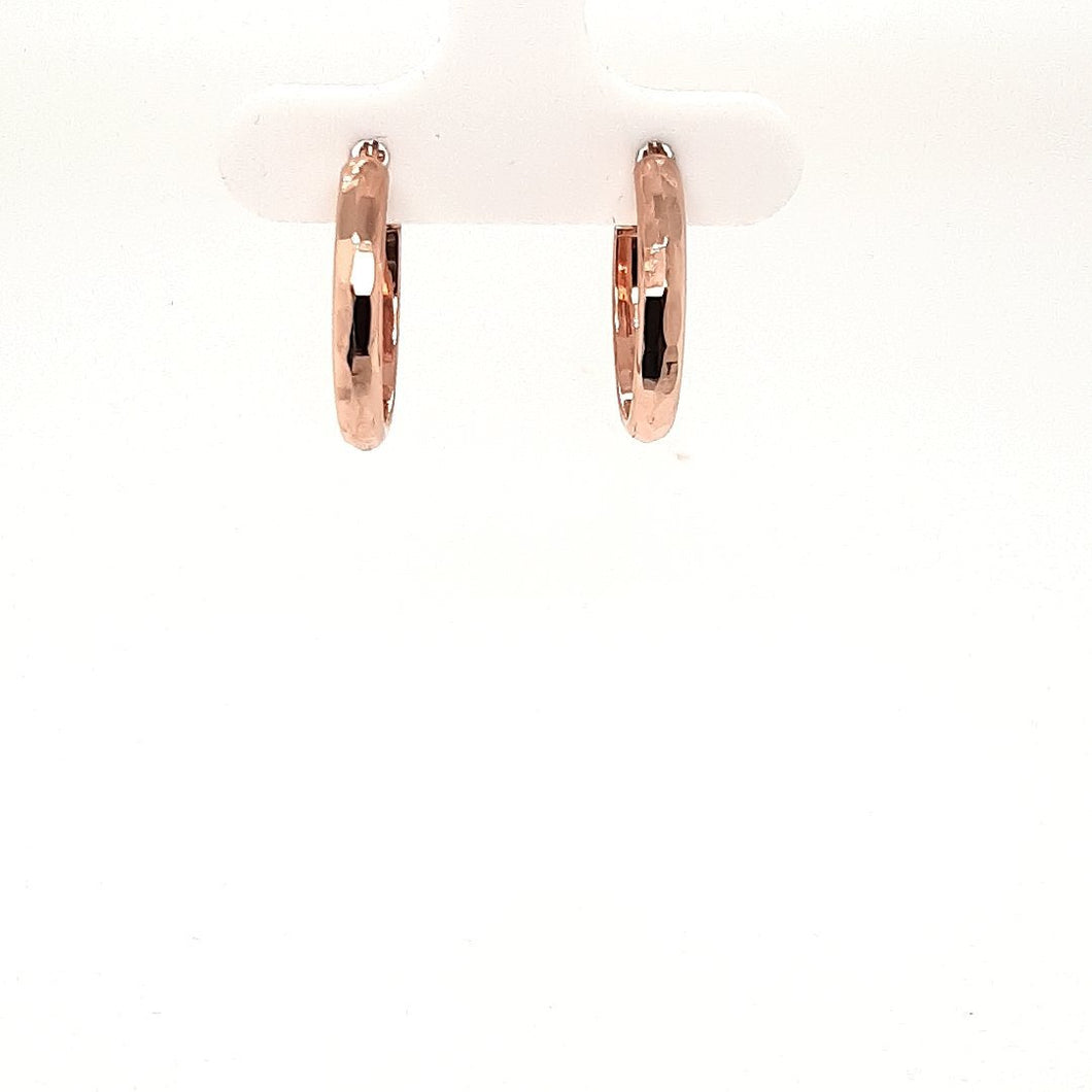 Bella Rose Gold Hammered Hoops - Fifth Avenue Jewellers