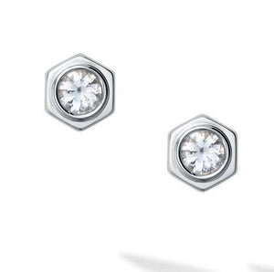 Birks Bee Chic White Quartz and Silver Stud Earrings - Fifth Avenue Jewellers