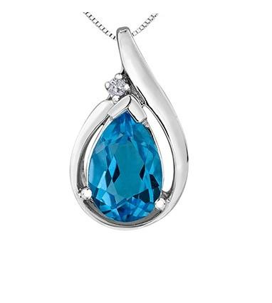 Blue Topaz Teardrop Pendant - Fifth Avenue Jewellers