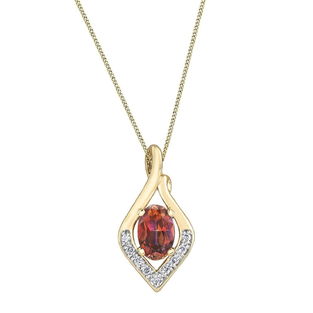 Bright Sunrise Topaz Gemstone Necklace With Diamonds - Fifth Avenue Jewellers