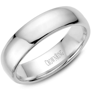 Crownring 10K White Gold Traditional Mens Band 6mm TDL10W6/9.5 - Fifth Avenue Jewellers