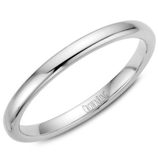 CrownRing 10K White Gold Wedding Band 2mm TDS10W2/5 - Fifth Avenue Jewellers