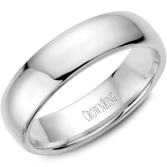 CrownRing 10K White Gold Wedding Band 6mm TDL10W6/11 - Fifth Avenue Jewellers