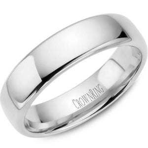 CrownRing 10K White Gold Wedding Band 6mm TDS10W6/10.5 - Fifth Avenue Jewellers