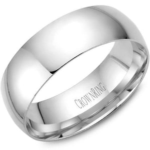 CrownRing 10K White Gold Wedding Band 7mm TDL10W7/10 - Fifth Avenue Jewellers