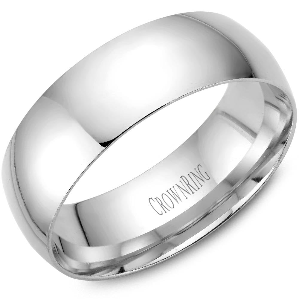 CrownRing 10K White Gold Wedding Band 7mm TDL10W7/11 - Fifth Avenue Jewellers