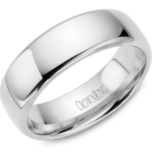 CrownRing 10K White Gold Wedding Band 7mm TDS10W7/9.5 - Fifth Avenue Jewellers