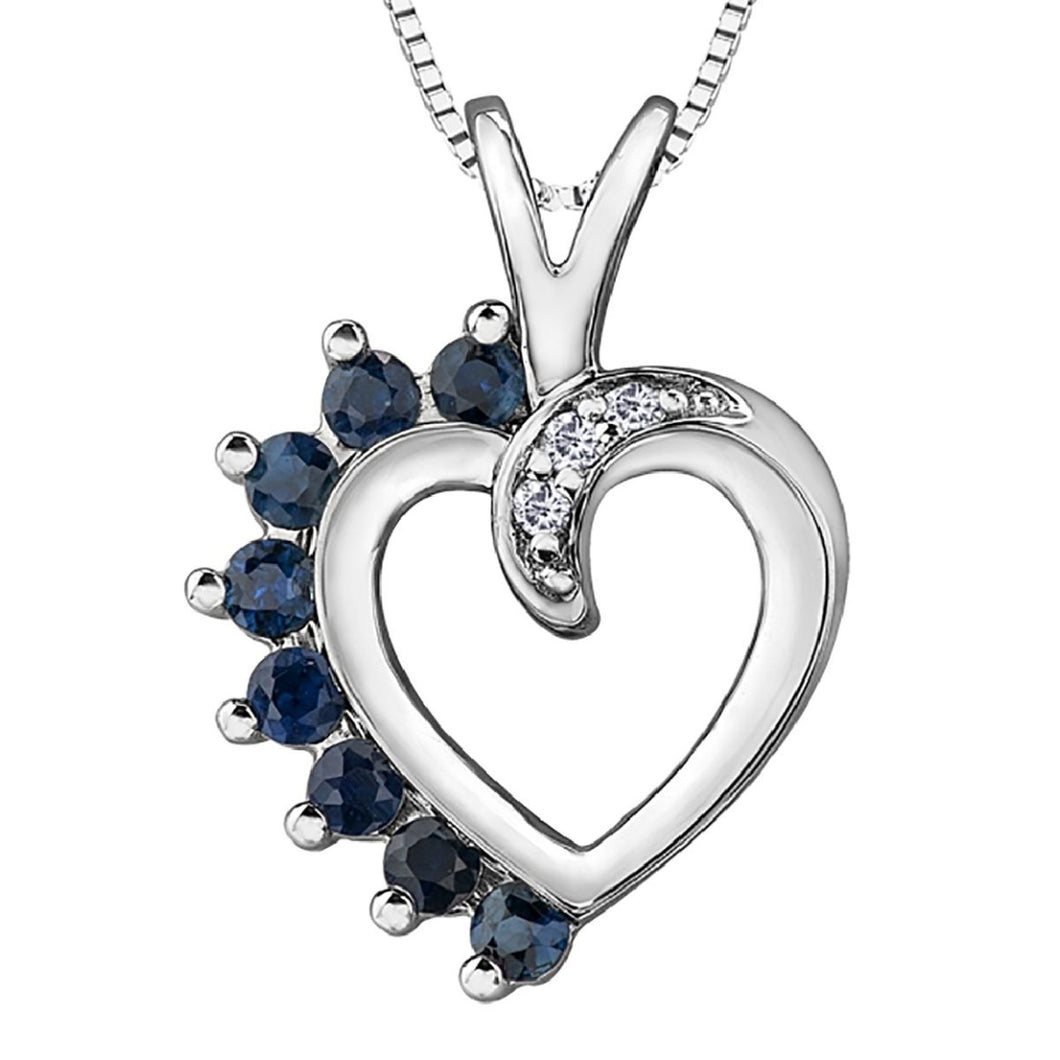 Diamond And Sapphire Heart Necklace in White Gold - Fifth Avenue Jewellers