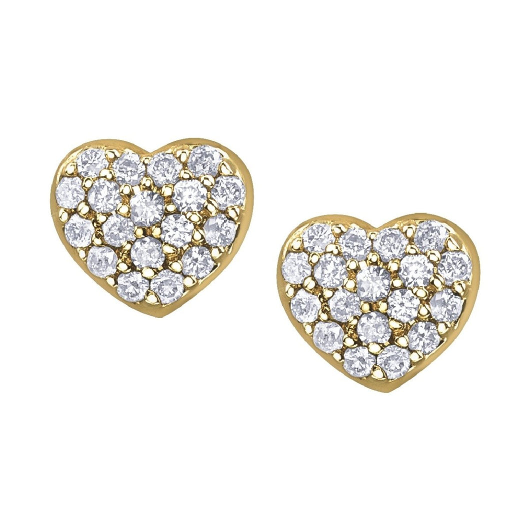 Diamond Cluster Heart Stud Earring in Yellow Gold - Fifth Avenue Jewellers