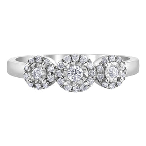 Diamond Cluster Three Stone Engagement Ring - Fifth Avenue Jewellers