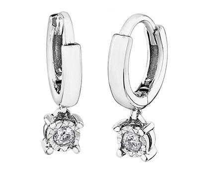 Diamond Drop Huggies in White Gold - Fifth Avenue Jewellers