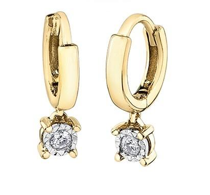 Diamond Drop Huggies in Yellow Gold - Fifth Avenue Jewellers