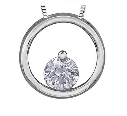 Diamond In A Circle Pendant - Fifth Avenue Jewellers
