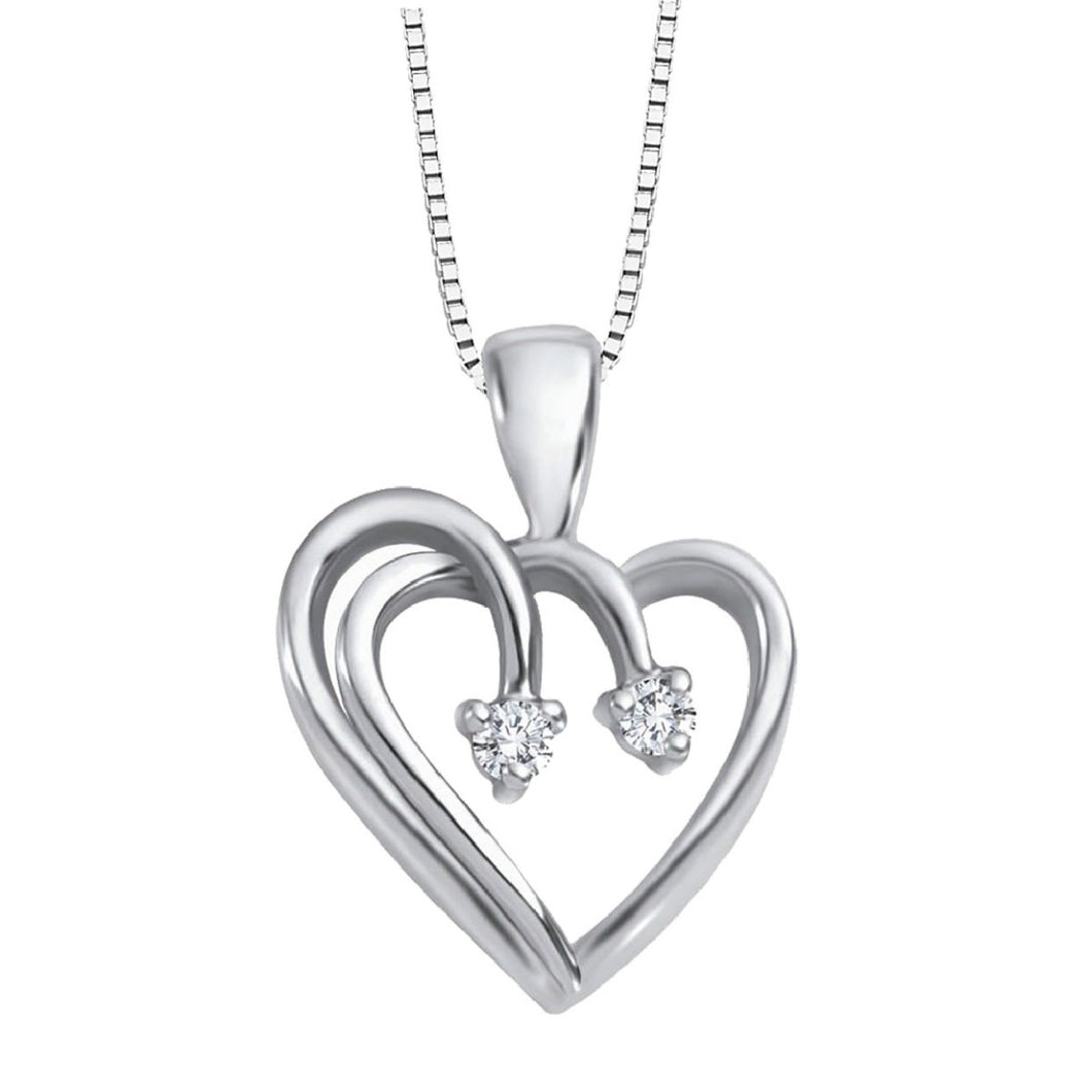Diamond Love Heart Necklace in White Gold - Fifth Avenue Jewellers