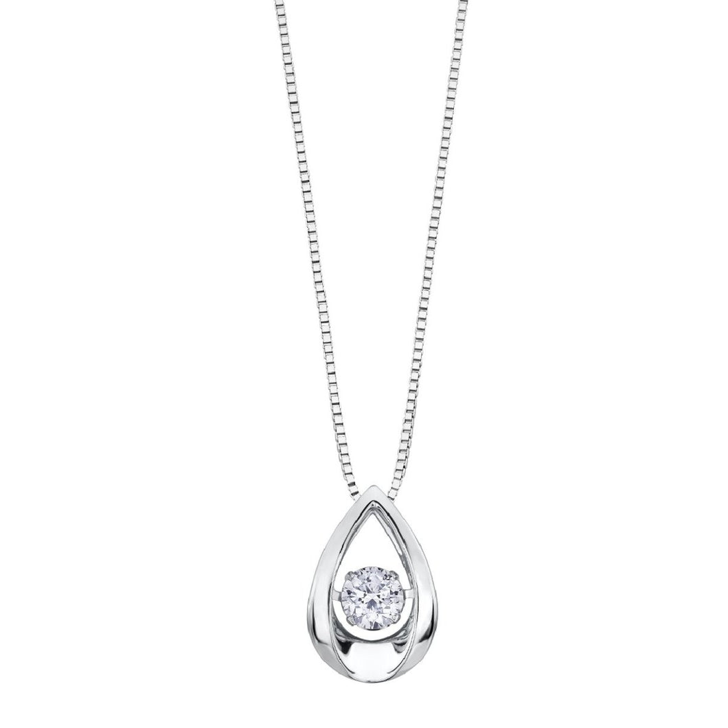 Diamond Pulse Drop Pendant With Box Chain - Fifth Avenue Jewellers