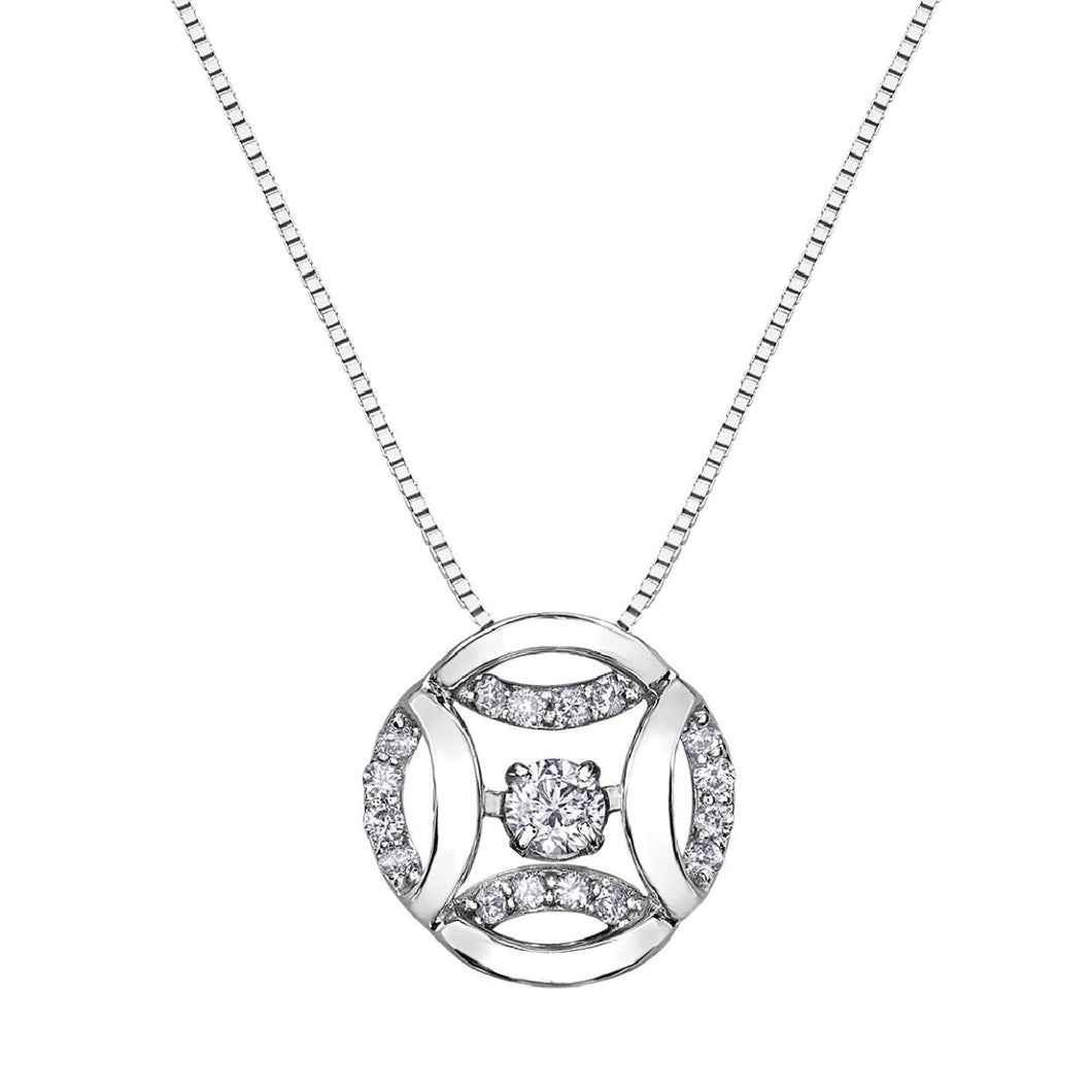 Diamond Pulse Medallion Pendant in White Gold - Fifth Avenue Jewellers