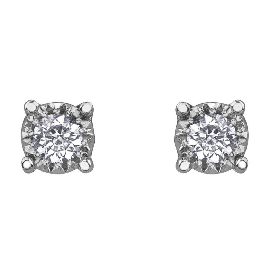 Diamond Solitaire Stud Earrings in White Gold - Fifth Avenue Jewellers