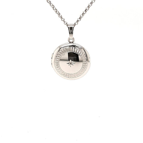 Diamond Star Locket In Sterling Silver - Fifth Avenue Jewellers