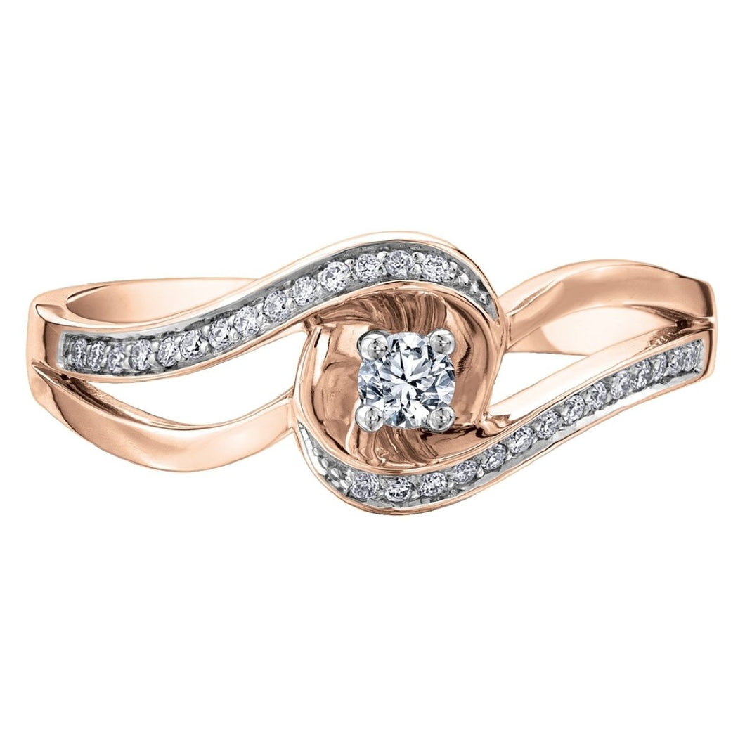 Diamond Swirl Engagement Ring in Rose Gold - Fifth Avenue Jewellers