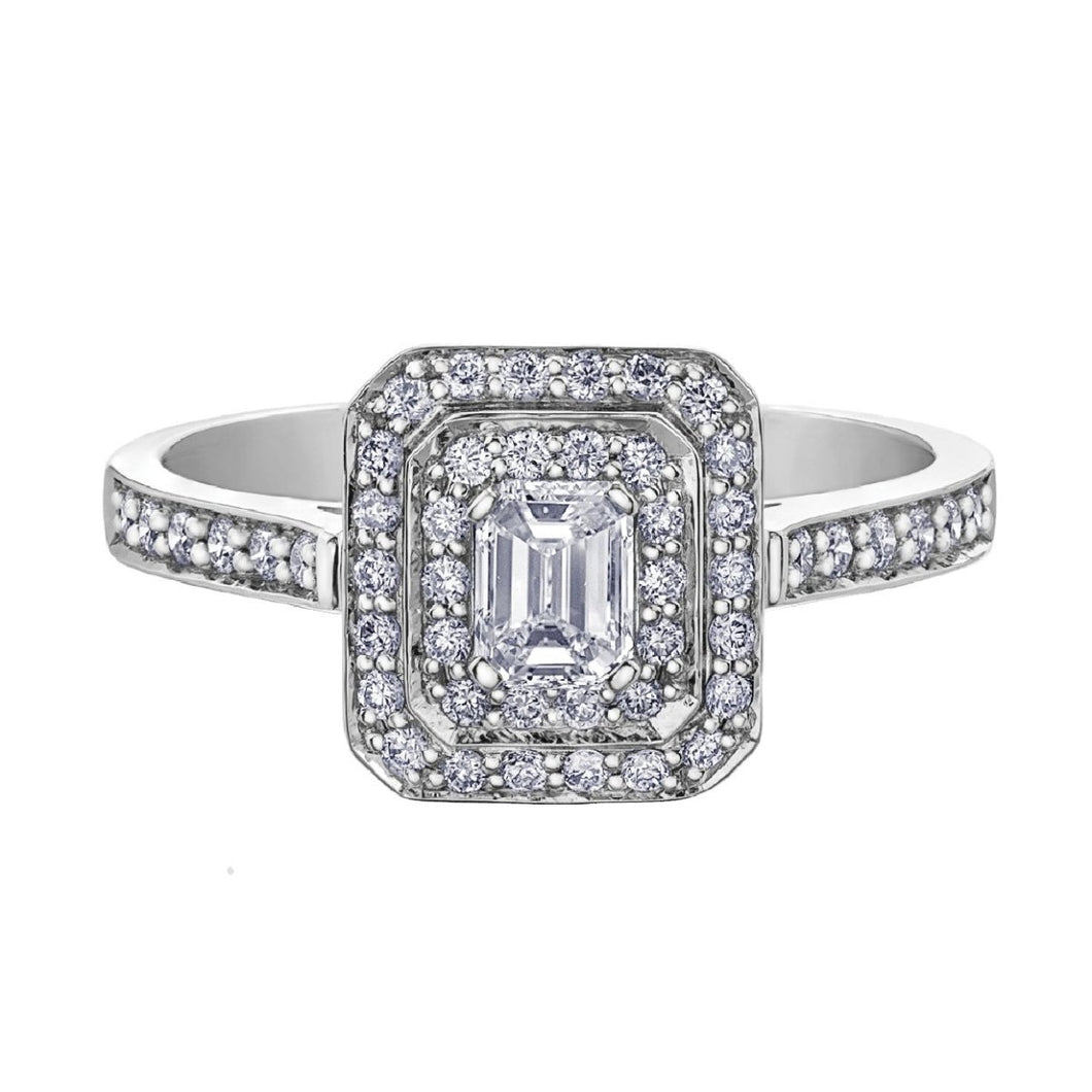 Emerald Cut Diamond Halo Ring in White Gold - Fifth Avenue Jewellers