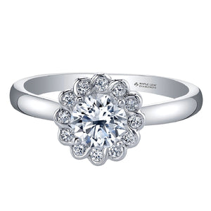 Flower Shaped Diamond Ring in White Gold - Fifth Avenue Jewellers
