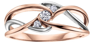 Free Form White And Rose Gold Diamond Ring - Fifth Avenue Jewellers