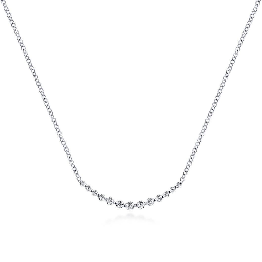 Gabriel & Co 14K White Gold Curved Bar Diamond Necklace NK4942W45JJ - Fifth Avenue Jewellers