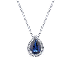 Gabriel & Co 14K White Gold Pear Shaped Sapphire Diamond Halo Necklace NK3603W45SA - Fifth Avenue Jewellers