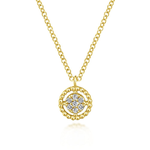 Gabriel & Co 14K Yellow Gold Beaded Round Floating Diamond Pendant NK5723Y45JJ - Fifth Avenue Jewellers