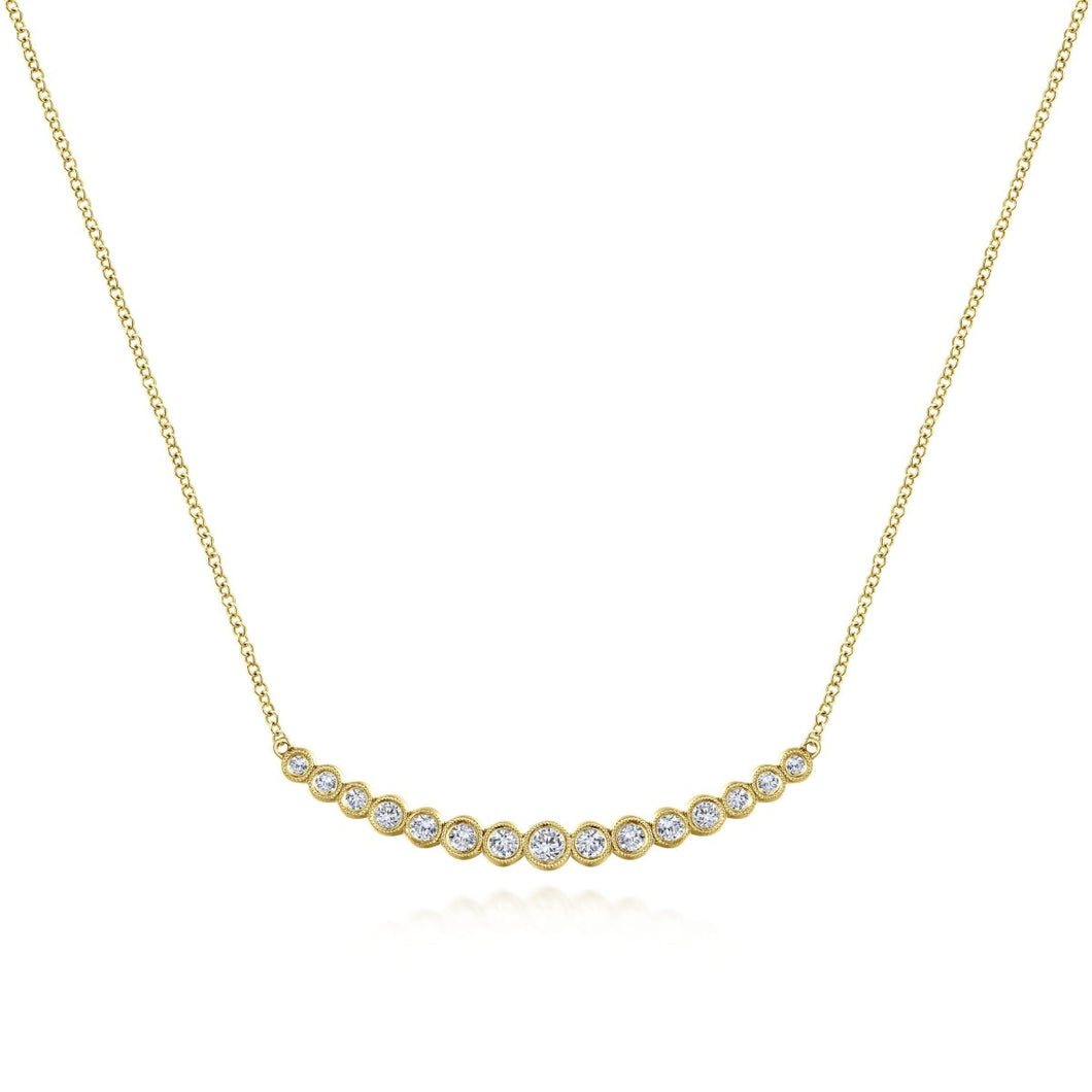 Gabriel & Co 14K Yellow Gold Bezel Set Diamond Curved Bar Necklace NK5797Y45JJ - Fifth Avenue Jewellers
