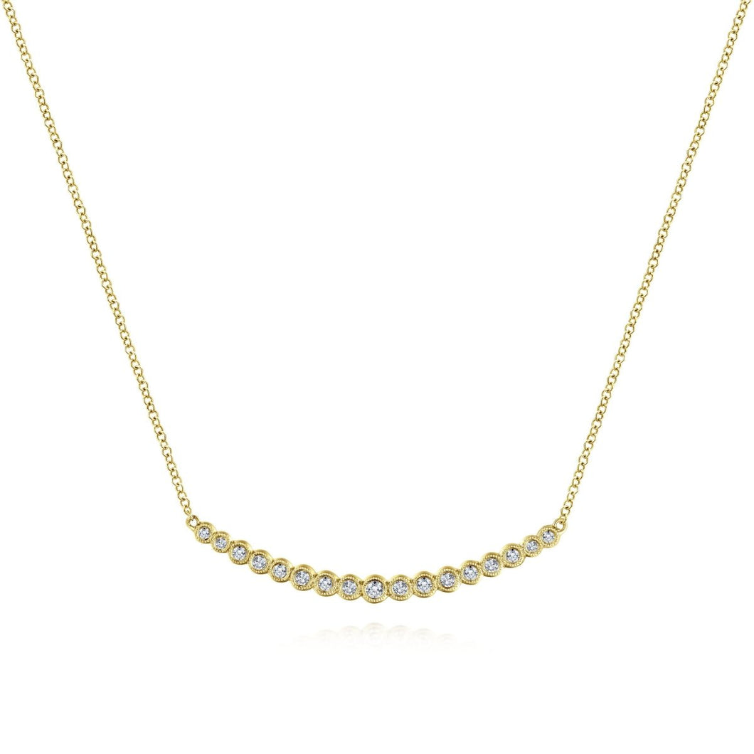 Gabriel & Co 14K Yellow Gold Curved Diamond Bar Necklace NK5796Y45JJ - Fifth Avenue Jewellers
