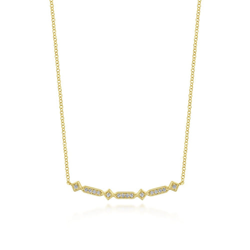 Gabriel & Co 14K Yellow Gold Curved Geometric Diamond Bar Necklace NK5732Y45JJ - Fifth Avenue Jewellers