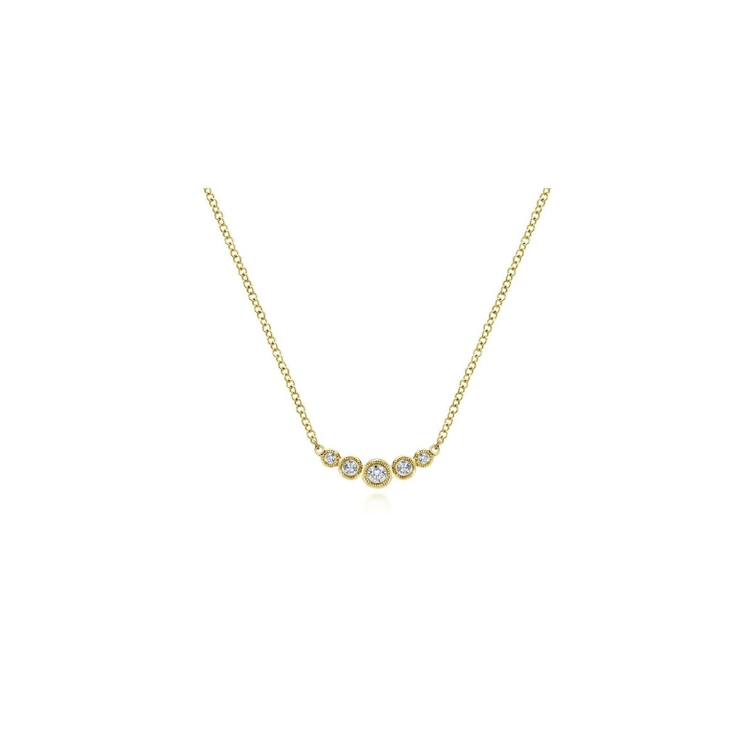 Gabriel & Co 14K Yellow Gold Curved Round Diamond Bar Necklace NK5424Y45JJ - Fifth Avenue Jewellers