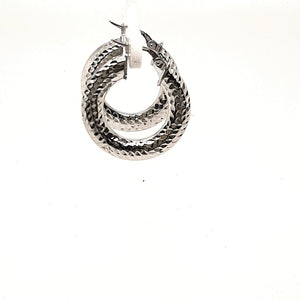 Hammered White Gold Hoops - Fifth Avenue Jewellers