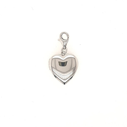 Heart Shaped Locket Charm In Sterling Silver - Fifth Avenue Jewellers