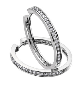 Prong Set Diamond Hoop Earrings in White Gold Fifth Avenue Jewellers Kamloops BC
