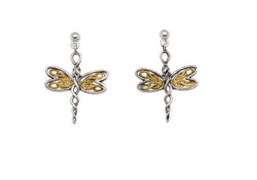 Keith Jack Dragonfly Earrings in Sterling Silver And Yellow Gold - Fifth Avenue Jewellers
