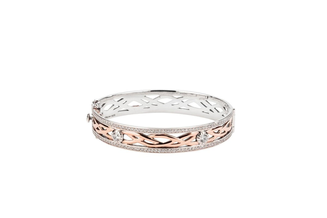 Keith Jack Oxidized Sterling Silver and 10k Rose Gold Brave Heart Bangle - Fifth Avenue Jewellers